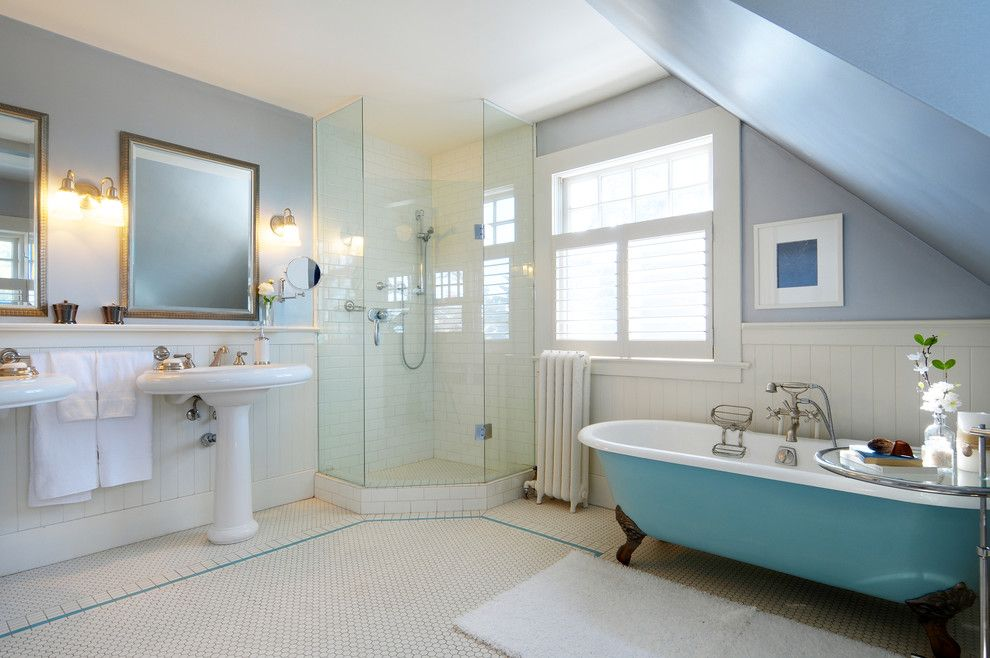 Jason Tubs for a Traditional Bathroom with a Sconce and Staging Ideas by Lifeseven Photography