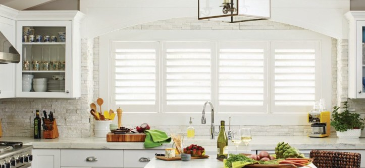 Jeff Lewis Paint for a Contemporary Kitchen with a Kitchen Islands Carts and White Plantation Shutters for the Kitchen by Budget Blinds