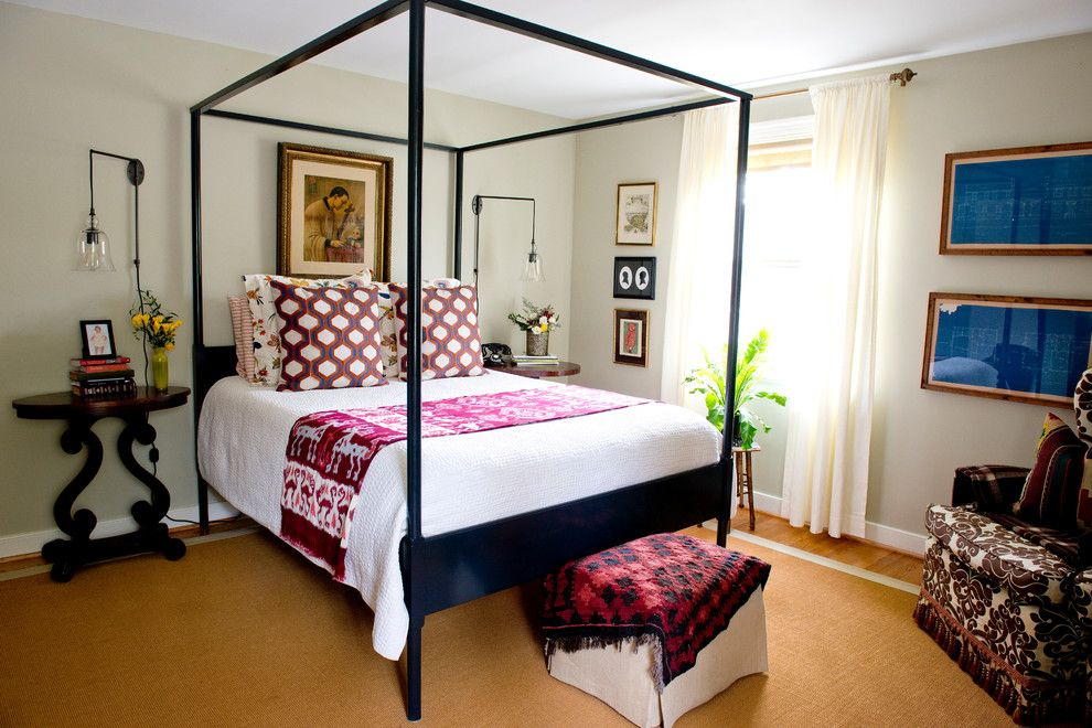 Jeff Lewis Paint for a Eclectic Bedroom with a Four Poster Bed and Doverland Road by Lesley Glotzl