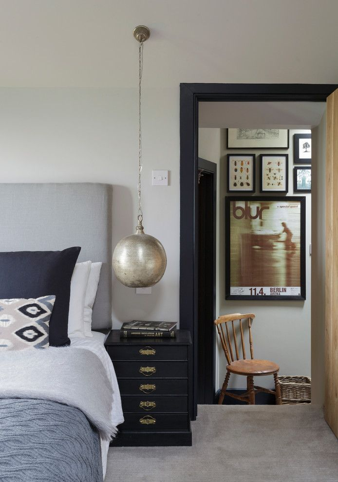 Jeff Lewis Paint for a Farmhouse Bedroom with a Blue Bedding and Somerset Cottage by Inspired Design Ltd