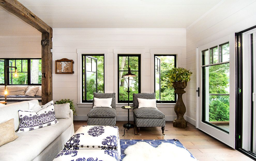 Jeff Lewis Paint for a Rustic Living Room with a Living Room and Lake George Retreat by Phinney Design Group