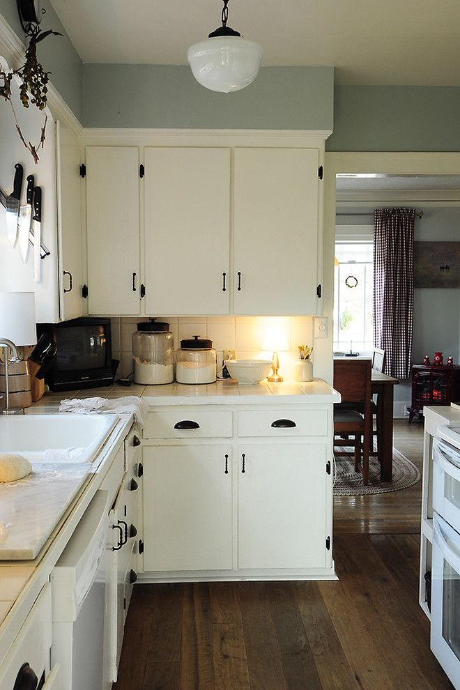 Jeff Lewis Paint for a Traditional Kitchen with a White Kitchen and Through the Kitchen by Julie Smith