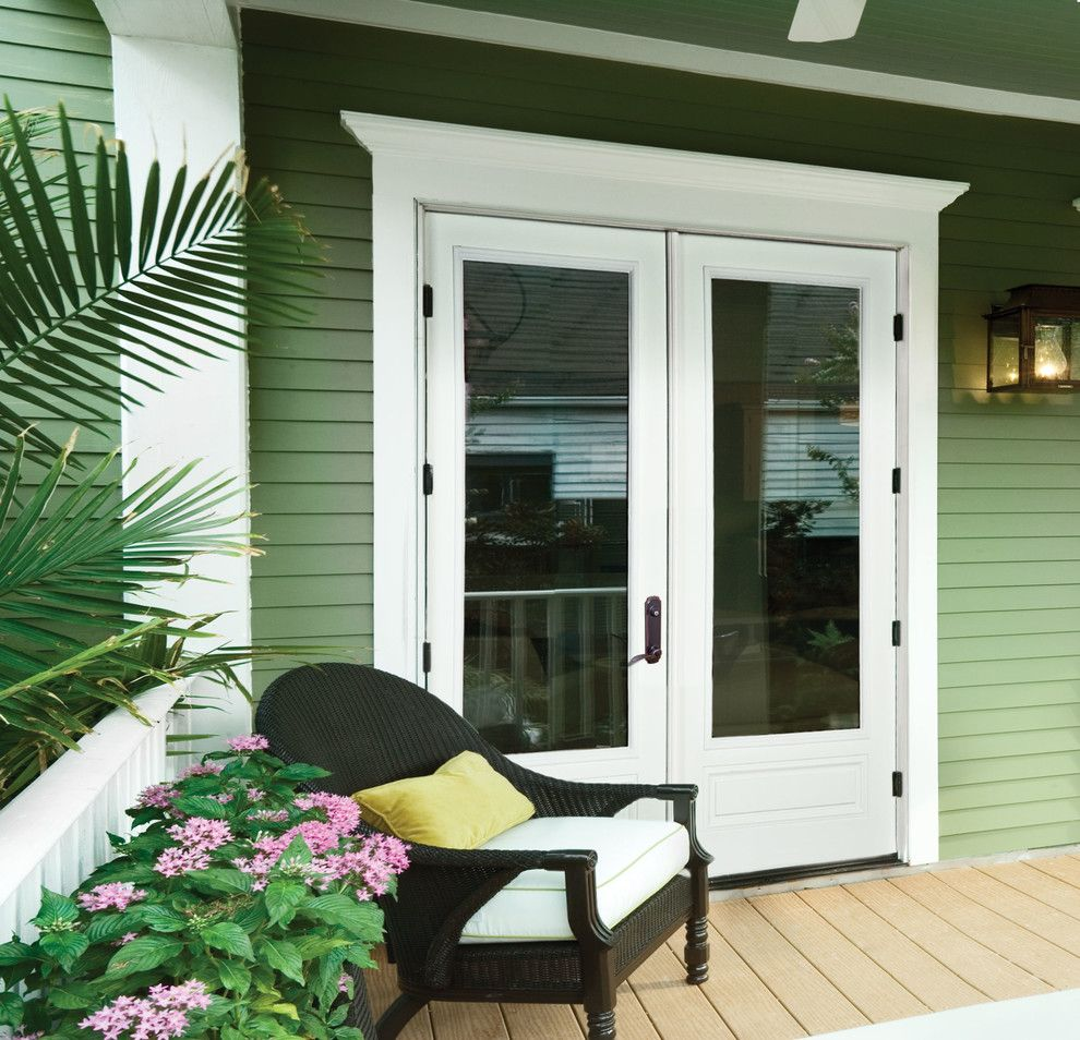 Jeld Wen Doors for a Transitional Porch with a Fiberglass Doors and Jeld Wen Aurora Custom Fiberglass Doors by Renaissance Windows & Doors
