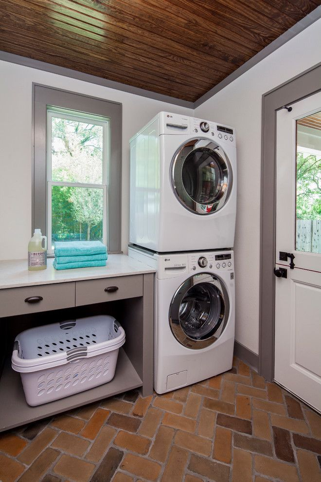 Jeld Wen for a Transitional Laundry Room with a White Countertop and Craftsman Revived by Cg&s Design Build