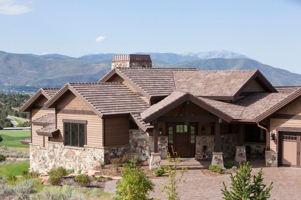 Jen Weld Doors for a Rustic Exterior with a Shingle Roof and Davinci Roofscapes by Davinci Roofscapes
