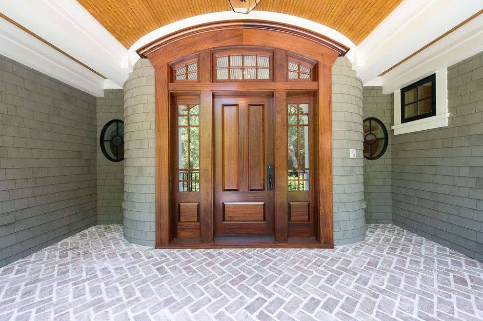 Jen Weld Doors for a Traditional Entry with a White Molding and Green Meadow by Solaris Inc.