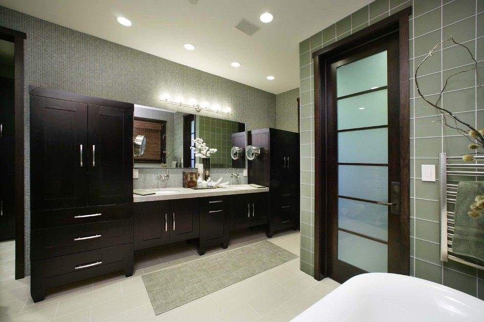 Jesco Lighting for a Contemporary Bathroom with a Bathroom Mirror and Master Bathroom by Debbie R. Gualco