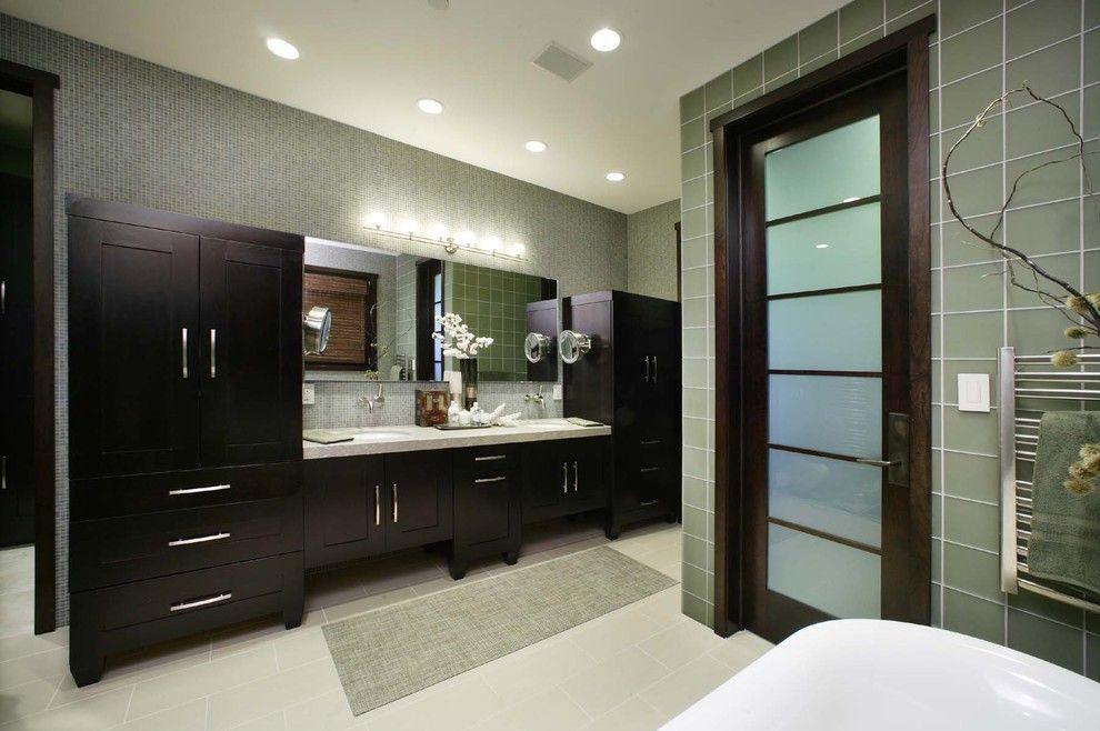 Jesco Lighting for a Contemporary Bathroom with a Bathroom Mirror and Master Bathroom by Debbie R. Gualco