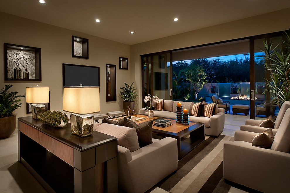 Jesco Lighting for a Contemporary Living Room with a Wall Decor and Ownby Design by Ownby Design