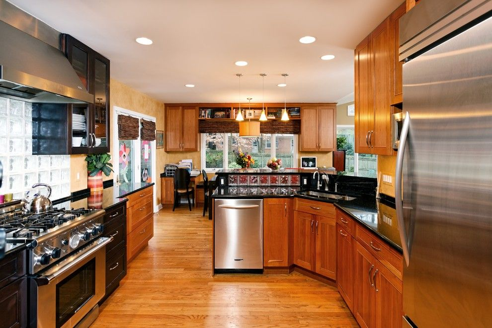 Jesco Lighting for a Traditional Kitchen with a Black Countertops and Friedman Kitchen by Tabor Design Build, Inc.