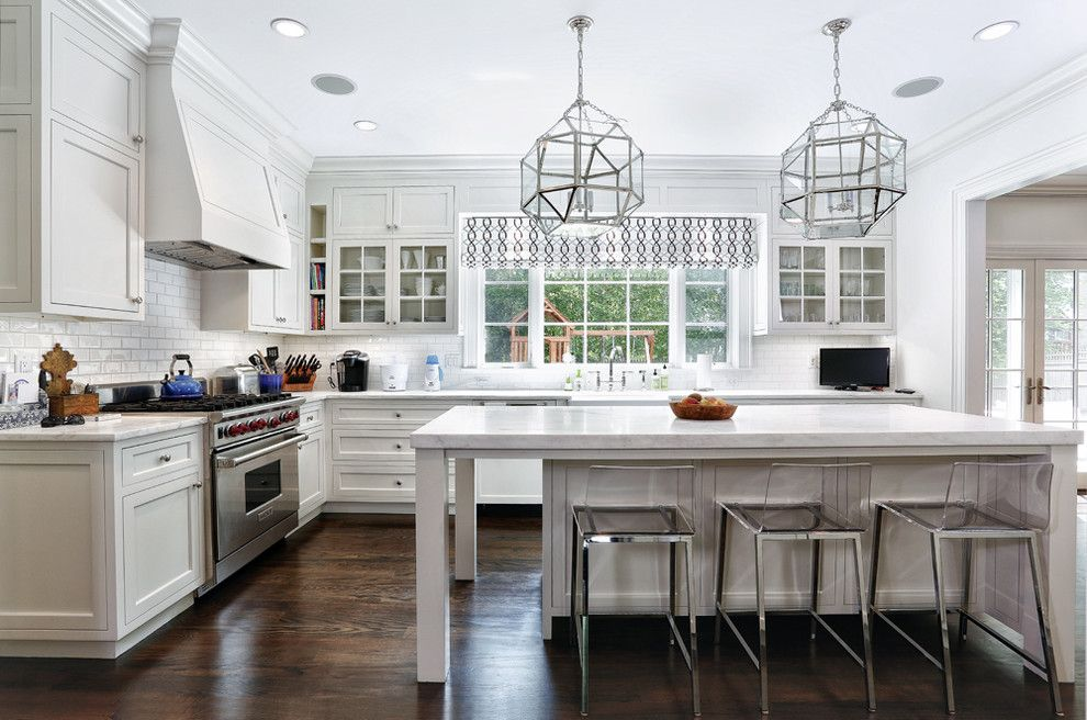 Jesco Lighting for a Traditional Kitchen with a White Kitchen and Bramble Lane   Riverside, Ct by Vita Design Group