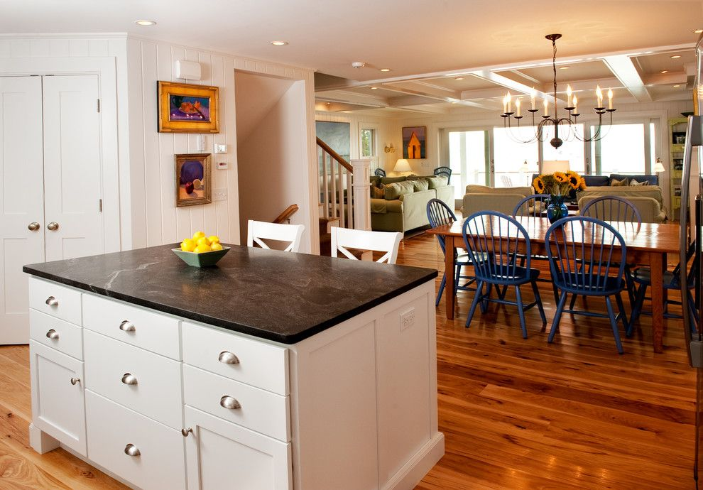 Jet Mist Granite for a Beach Style Kitchen with a White Cabinets and Provincetown Beach House by Mary Prince Photography