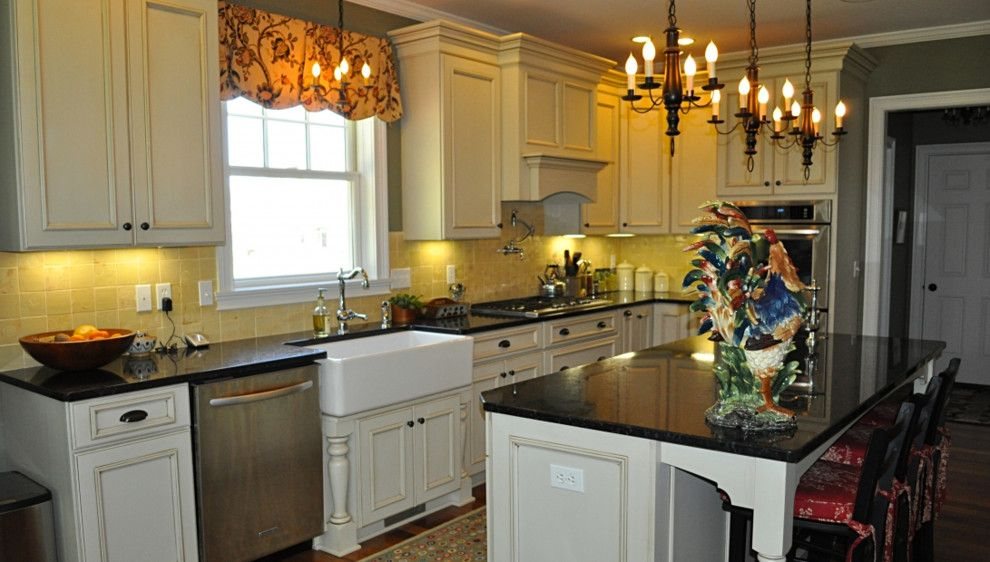 Jet Mist Granite for a Farmhouse Kitchen with a White Kitchen Cabinets and Pittsford, NY Formal Farmhouse Kitchen by Innovations by VP