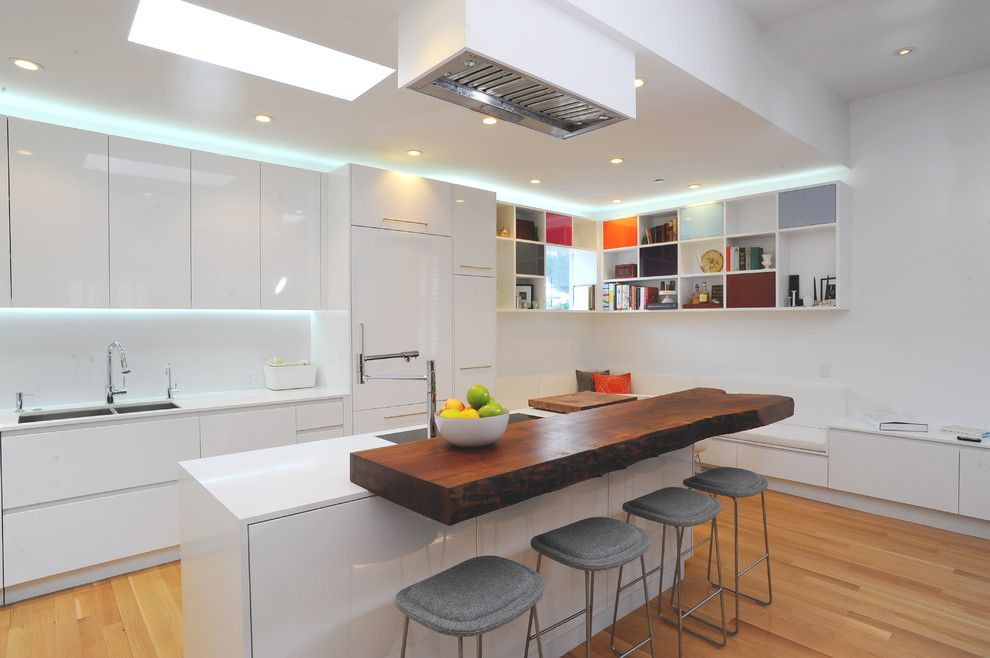J&k Cabinets for a Contemporary Kitchen with a White Countertop and Kitchens by Sf Architecture