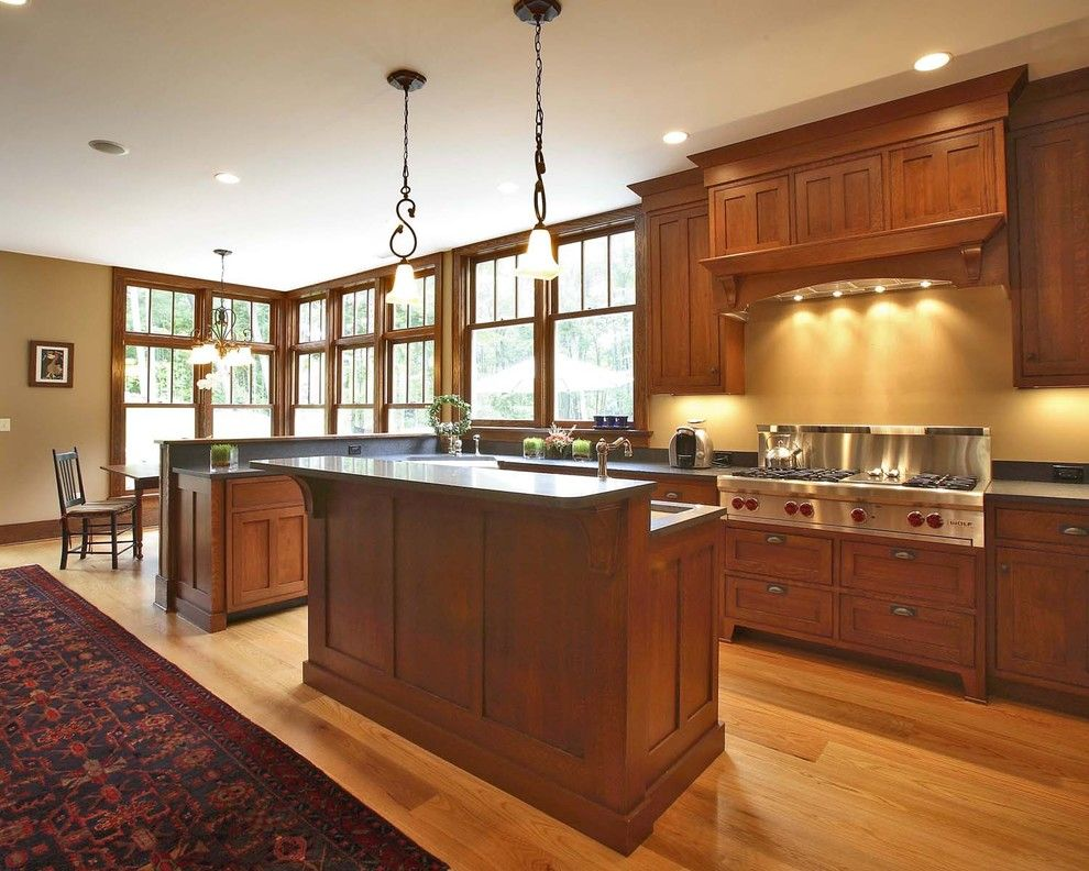 J&k Cabinets for a Craftsman Kitchen with a Craftsman Style and Whiporwill by Callaway Wyeth