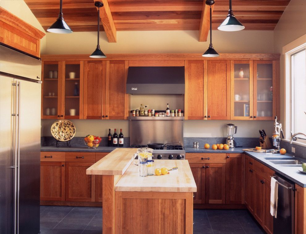J&k Cabinets for a Craftsman Kitchen with a Pendant Lights and Mill Valley Arts & Crafts by Mahoney Architects & Interiors