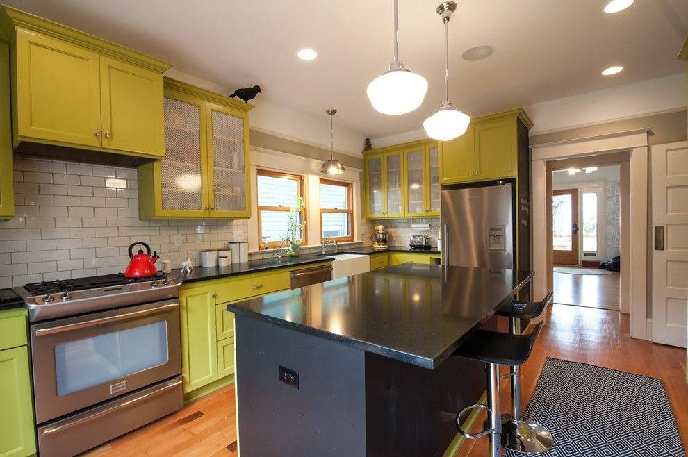 J&k Cabinets for a Eclectic Kitchen with a Ledge and Se House Remodel by Encircle Design and Build