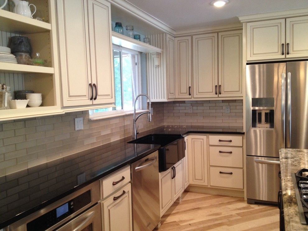 J&k Cabinets for a Farmhouse Kitchen with a White Kitchen and Altenbach Kitchen Remodel by Jk Cabinets & Design