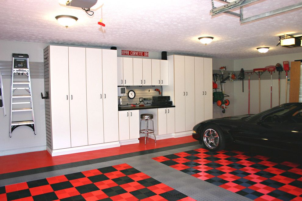 J&k Cabinets for a Traditional Garage with a Red and Black Checkered Floor and Corvette Garage by the Garage Guy