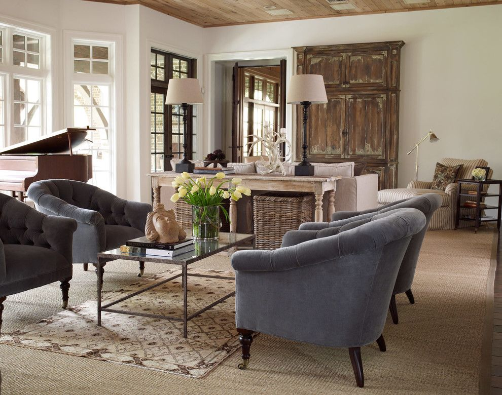 John Houston Custom Homes for a Transitional Living Room with a Sisal Rug and Wellesley by Thompson Custom Homes