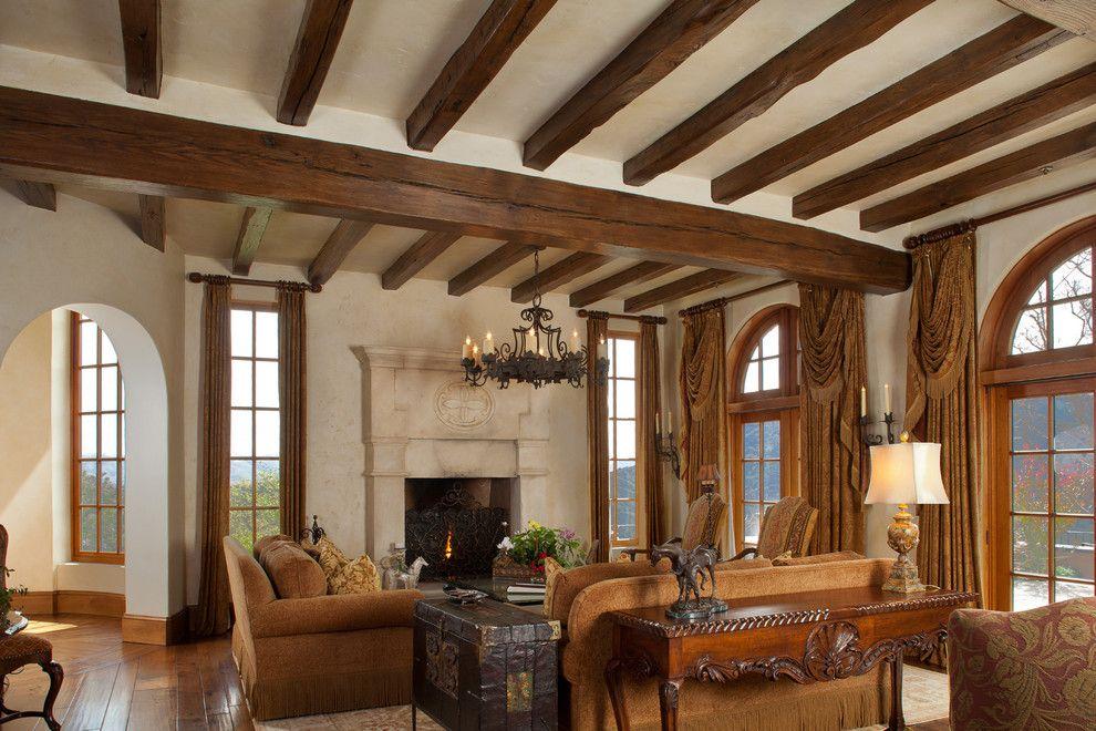 John Paras Furniture for a Mediterranean Living Room with a Curtains and Mediterranean Equestrian Estate, Carmel, California by John Malick & Associates