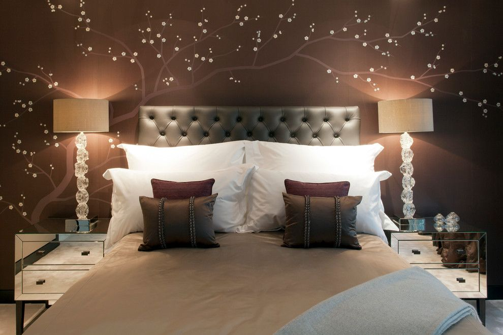 Julian Chichester for a Modern Bedroom with a Hand Embroidered Wallpaper and Mayfair Penthouse Bedroom by Oliver Burns