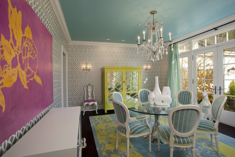 Julian Chichester for a Traditional Dining Room with a Crystal Chandelier and Jacobson Interior Design by Jacobson Interior Design