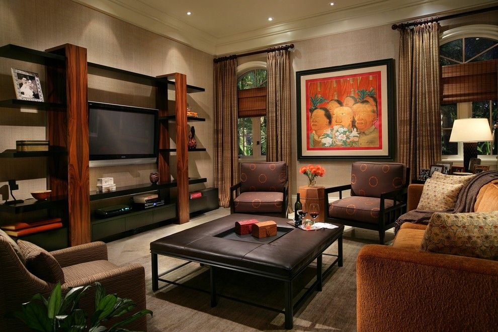 Jung Garden Center for a Contemporary Family Room with a Drapes and Miami Family Room by Michael Abrams Limited