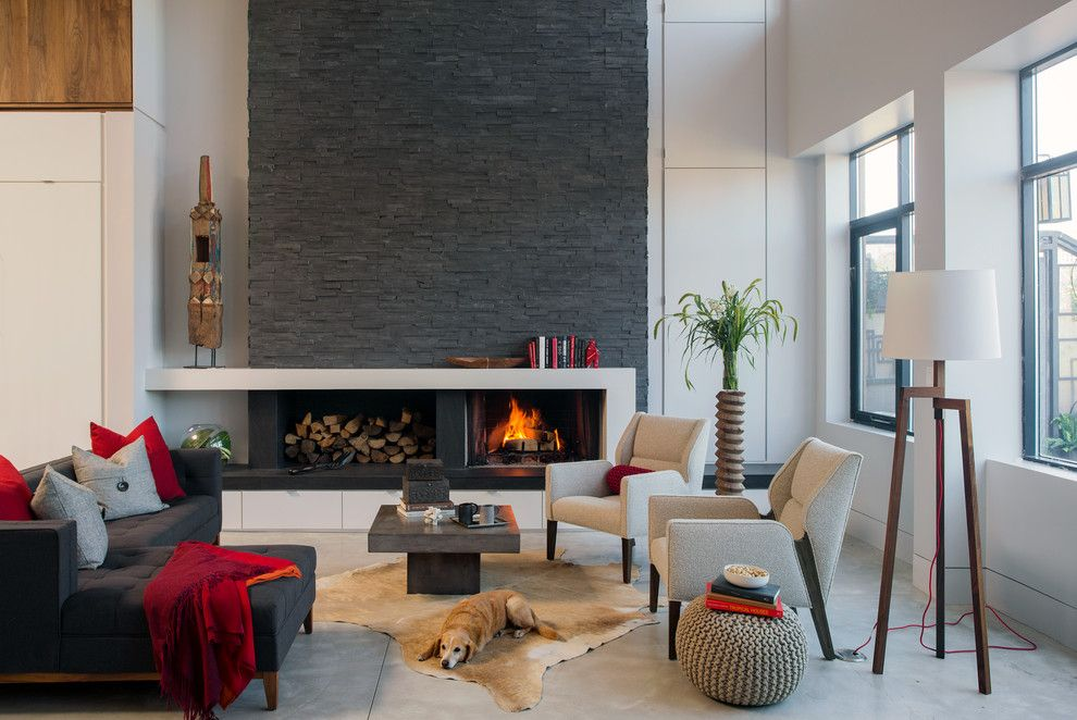 Jung Garden Center for a Contemporary Living Room with a Armchairs and Fireplaces by Realstone Systems