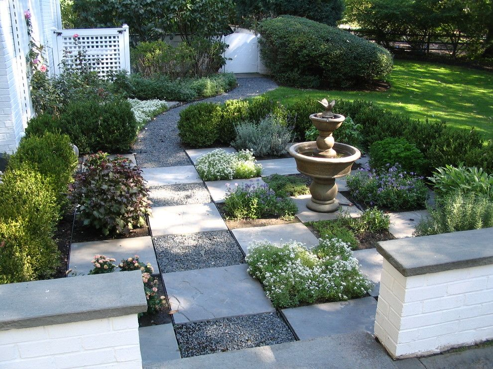 Jung Garden Center for a Traditional Landscape with a Gravel Path and Informal Garden   a Side Yard Garden Path Using Shades of Gray    Glenview, Illi by Schmechtig Landscapes