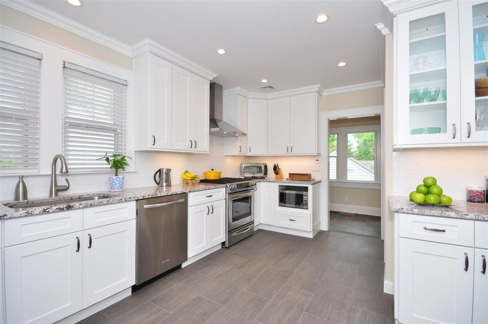 Kabinet King for a Traditional Kitchen with a Gray Floor File and Ice White Shaker by Kabinet King Usa Inc