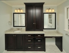 Kashmir White Granite for a Contemporary Bathroom with a Mahogany Vanity and Bathroom by Innovative Construction Inc.