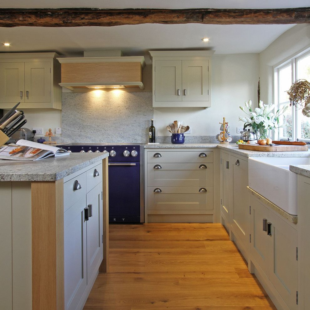 Kashmir White Granite for a Farmhouse Kitchen with a Bespoke Kitchen and Handmade in-Frame Kitchen in Old White by Beau-Port Kitchens