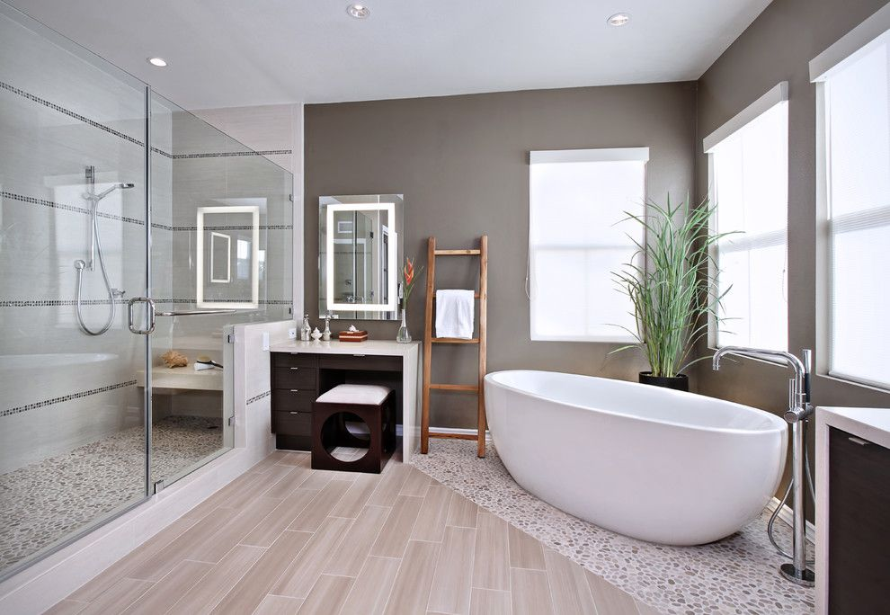 Kate Lo Tile for a Contemporary Bathroom with a Lighted Toe Kick and Yorba Linda Residence by International Custom Designs