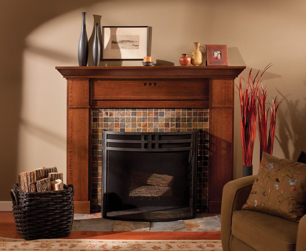 Kate Lo Tile for a Craftsman Living Room with a Built in and Mantel of a True Craftsman by Dura Supreme Cabinetry