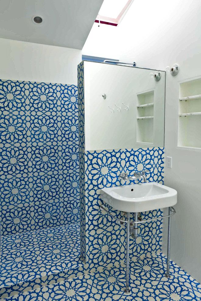 Kate Lo Tile for a Eclectic Bathroom with a Tile Floor and Hope Alexander Custom Bathroom by Granada Tile