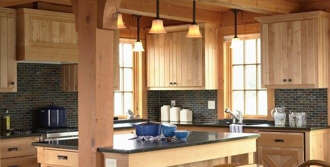 Kate Lo Tile for a Rustic Kitchen with a Stools and Otter Tail Hunting Lodge by David Heide Design Studio
