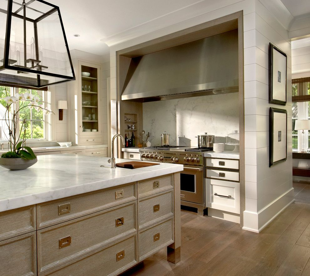 Transitional Kitchen Katonah Hardware For A Transitional Kitchen With A Wainscoting