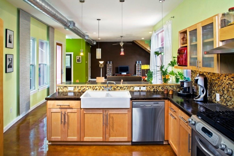 Kemiko for a Modern Kitchen with a Green Walls and Crooked Lane by Element 5 Architecture