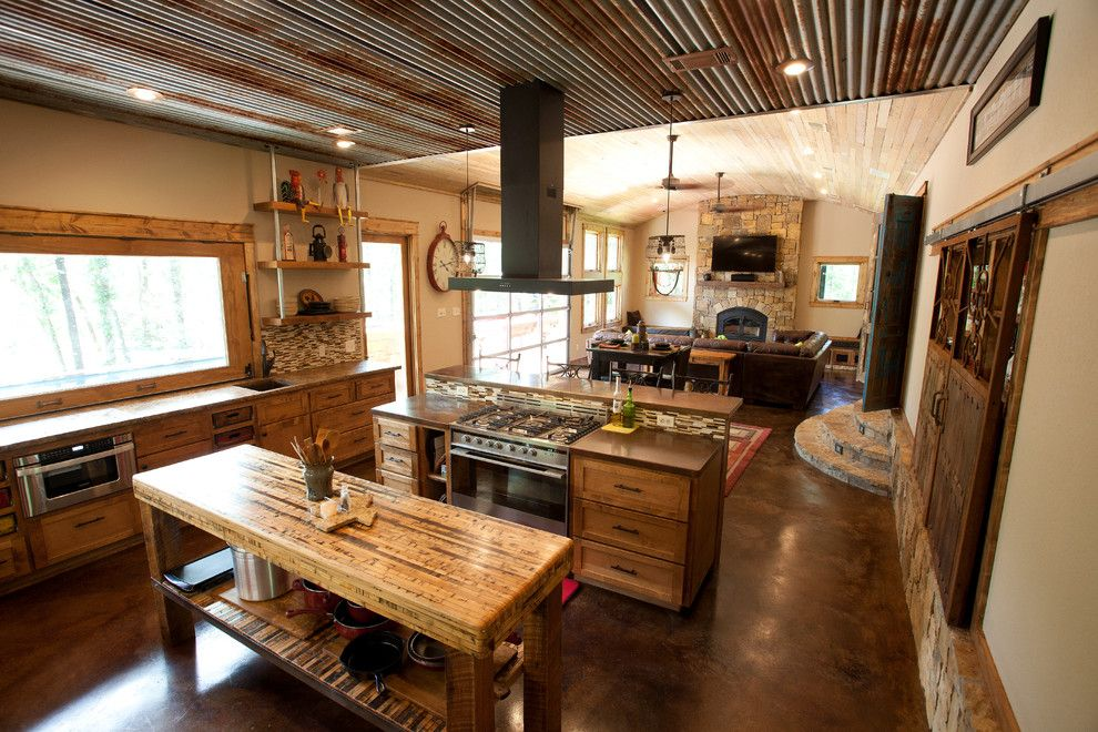 Kemiko for a Rustic Kitchen with a Barrel Ceiling and Open Greatroom by Wright Built