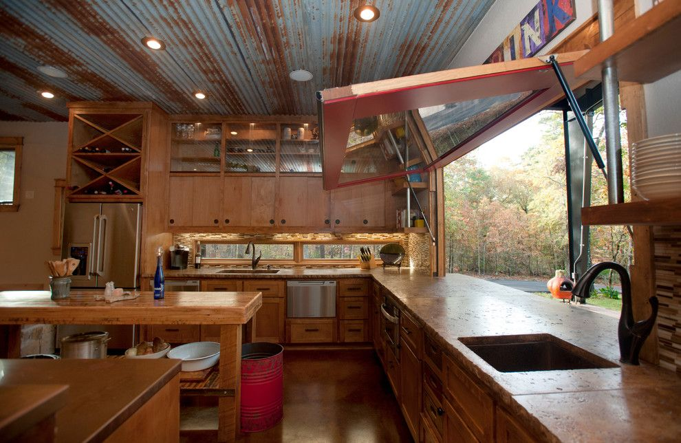 Kemiko for a Rustic Kitchen with a Custom Home Builders and Rustic Modern New Construction by Wright Built