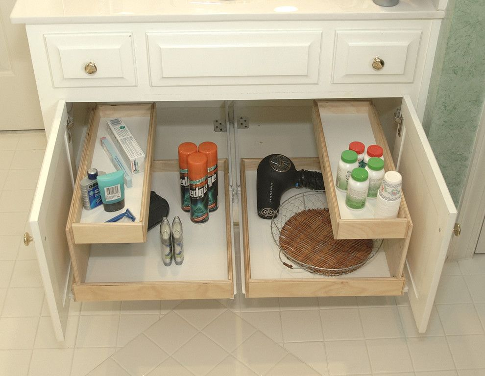 Kemper Cabinets for a Traditional Bathroom with a Pantry and Bathroom Shelves by ShelfGenie of Northern Atlanta