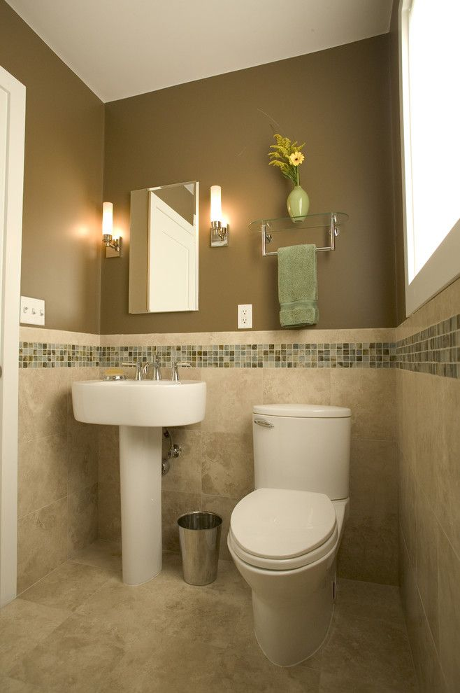Ken Caryl Glass for a Contemporary Bathroom with a Mosaic Tile and Home in Corte Madera by Julie Williams Design