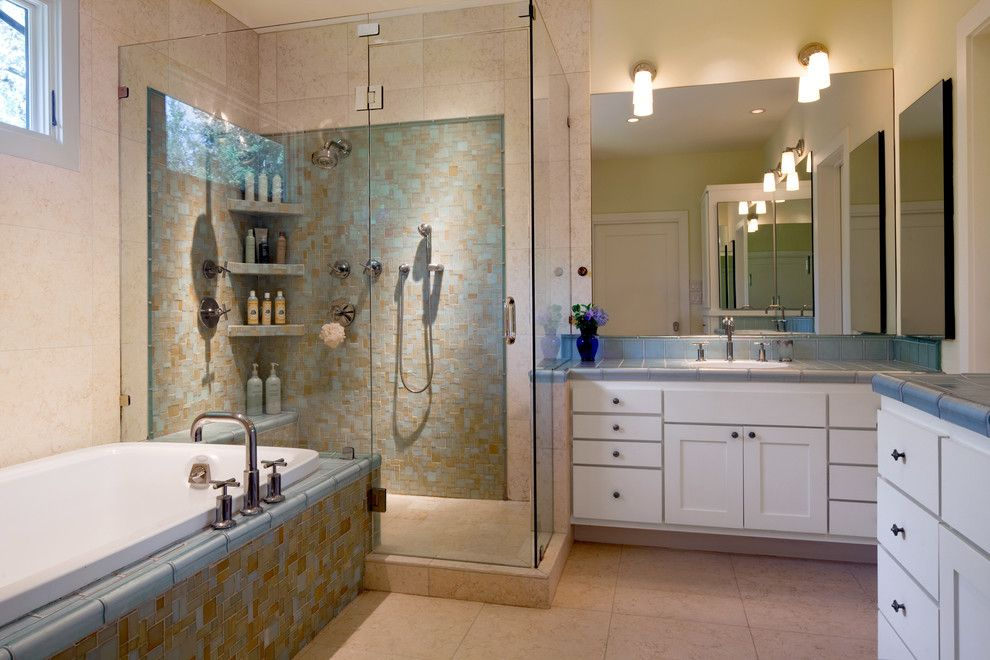 Ken Caryl Glass for a Contemporary Bathroom with a Tile Flooring and South Austin Bungalow by Cravotta Interiors