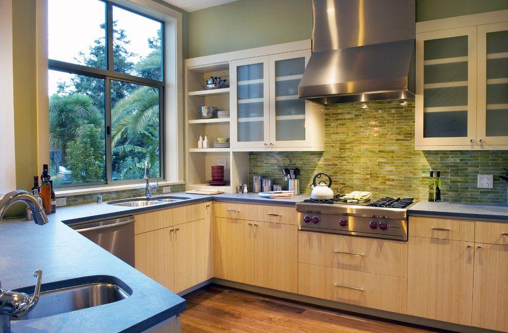 Ken Caryl Glass for a Contemporary Kitchen with a Kitchen Backsplash and Contemporary Kitchen by hopkinstudio.com