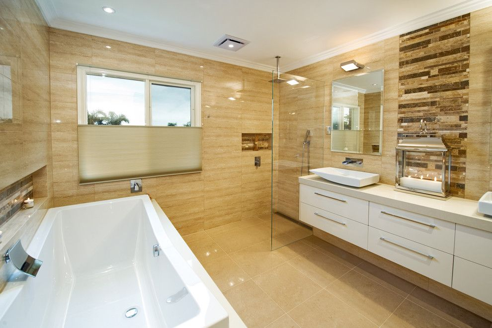 Ken Caryl Glass for a Modern Bathroom with a Beige Tile Wall and Bent Pde, Black Rock by Bubbles Bathrooms