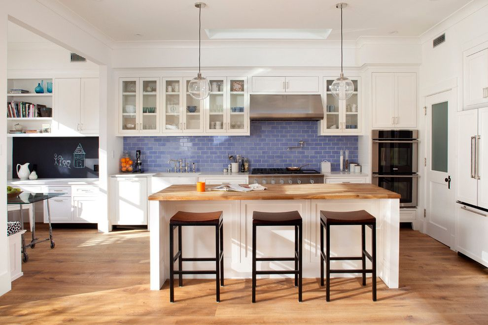 Ken Fulk for a Contemporary Kitchen with a Glass Pendants and Eco+Historical Sanchez 1 by Eco+Historical, Inc.
