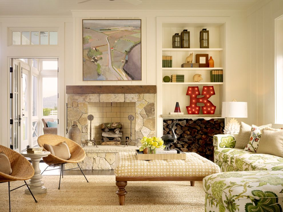 Ken Fulk for a Farmhouse Living Room with a Transom Window and Calistoga Farm House by Total Concepts