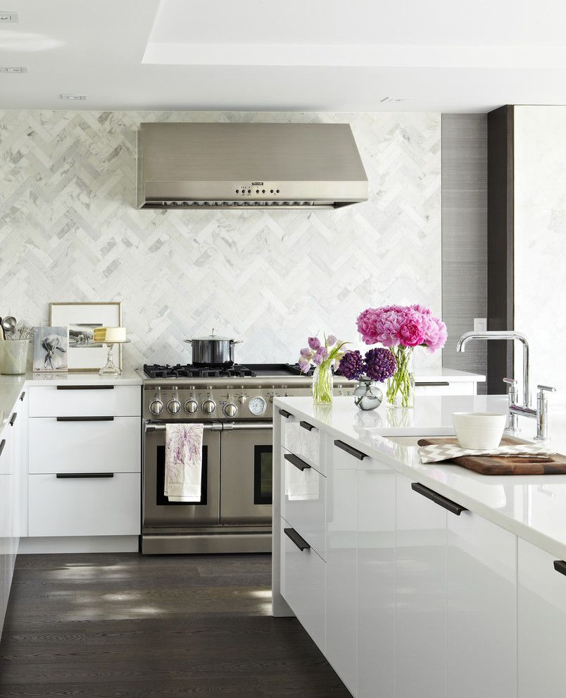 Kentwood Flooring for a Contemporary Kitchen with a Recessed Lighting and Modern White Kitchen by Croma Design Inc