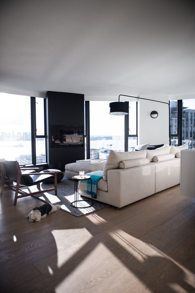 Kentwood Flooring for a Modern Living Room with a Interiors and West 2nd Street, North Vancouver by Gaile Guevara